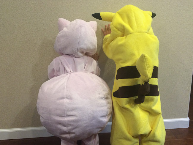 Jigglypuff and Pikachu kid costumes